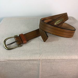 Levi's Belt Brown Leather Stitched Gold Buckle 34